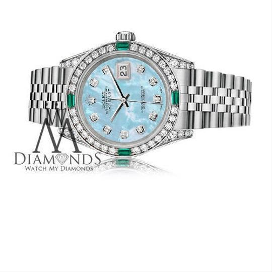 Rolex Women's Rolex 31mm Stainless Steel BabyBlue MOP Diamond Emerald Image 2