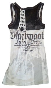 Salvage short dress White and Black Lace Grommet on Tradesy