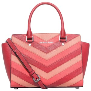 Michael Kors Saffiano Leather Classy Satchel in Pink