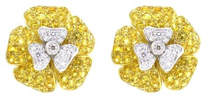 Other 18K White Gold 1.20Ct Diamond 4.8Ct Yellow Citrine Flower Earrings