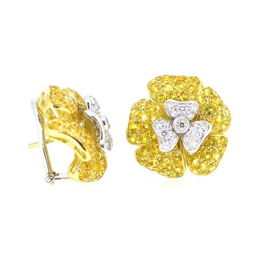 Other 18K White Gold 1.20Ct Diamond 4.8Ct Yellow Citrine Flower Earrings Image 1