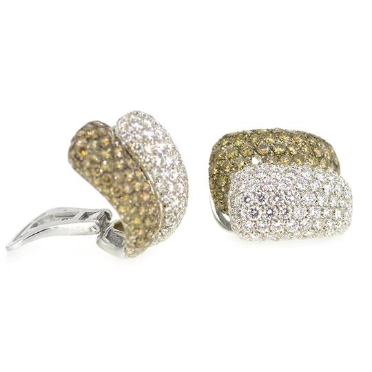 Other 18K White Gold 8.0Ct White Chocolate Diamond Clip On Earrings Image 1
