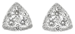 Other 18K White Gold 1.0Ct Round Diamonds Triangle Stud Earrings 2 Grams