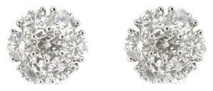 14K White Gold 2.45Ct Round Diamond Cluster Stud Earrings 3.0 Grams