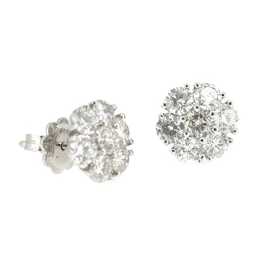 Other 14K White Gold 2.45Ct Round Diamond Cluster Stud Earrings 3.0 Grams Image 1