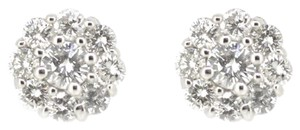 Other 14K White Gold 0.90Ct Round Diamond Cluster Stud Earrings 2.4 Grams