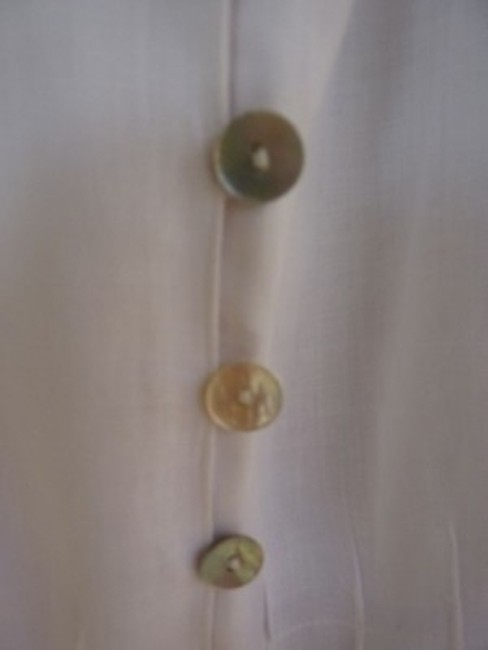 Weavz Linen 3/4 Length Sleeve Mother Of Pearl Buttons Top White