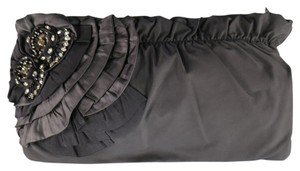 Elie Tahari Ruffle Floral Crystal Ribbon black Clutch