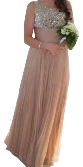 Item - Nude with Silver Beading Long Formal Dress Size 6 (S)