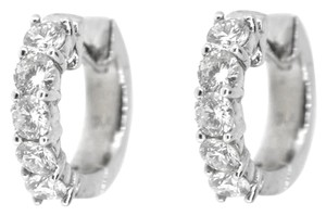 Other 14K White Gold 1.20Ct Round Diamond Hoop Earrings 5.2 Grams