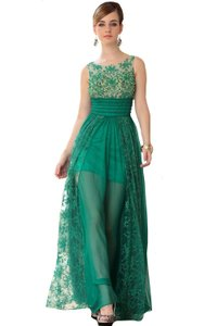 Emerald Green Vogue Bridal Transparent Wear Embroid Tulle Dress