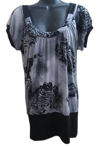 Daytrip Abstract Jersey Knit Stretchy Top Black & Grey