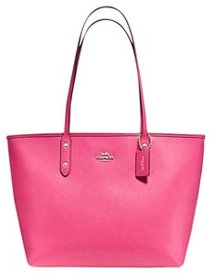 Coach City Leather Pink Tote in Dahlia