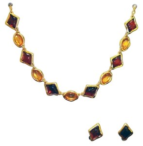 24-kt Gold-Plated Pewter Gemstone Dainty Resin Necklace