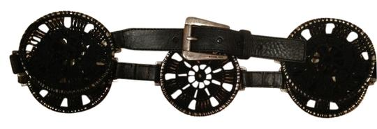 Michael Kors Black round woven with nickel buckle