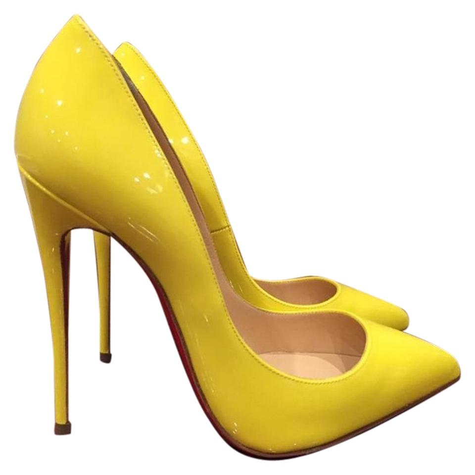 Christian Louboutin Yellow Pigalle Follies 120 Sun Patent Heel Heel Heel 35 Pumps b67ca9