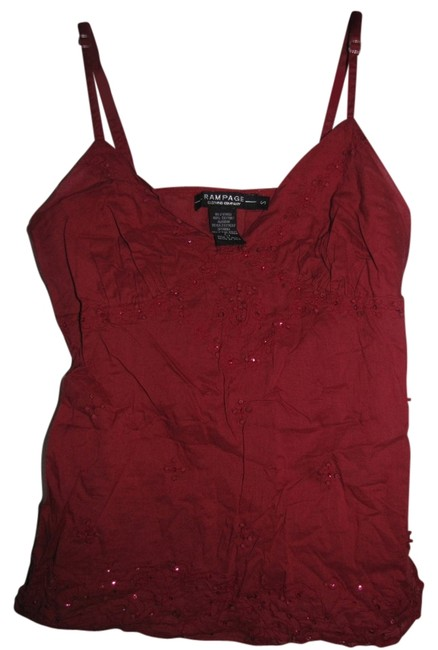 Rampage Beaded Embroidered Sequin Top Red