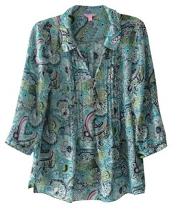 Lilly Pulitzer Top Blues and greens