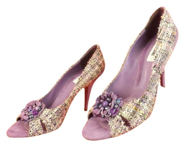 Moschino Multi Color Tweed Beads Brooch Open Toe Italy Pumps Size EU 40.5 (Approx. US 10.5) Regular (M, B) Moschino Multi Color Tweed Beads Brooch Open Toe Italy Pumps Size EU 40.5 (Approx. US 10.5) Regular (M, B) Image 1