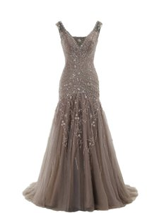 Dark Champagne Cocomelody A Line V Neck Long Beaded Evening Dress Dress