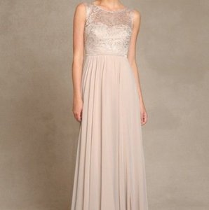 Jenny Yoo Champagne Lace Chiffon Traditional Bridesmaid/Mob Dress Size 10 (M)