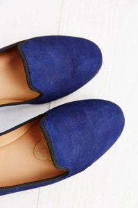 Messeca New York Ny Suede Leather Loafer Loafers Colorblock Menswear Cobalt Blue Flats