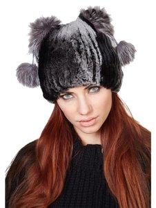 Dimitri Furs Authentic Black Grey Rex Rabbit with Fur Fox Pom Poms Winter Hat