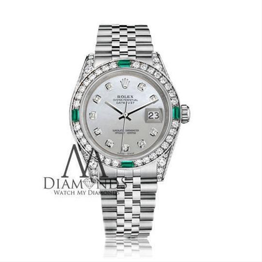 Rolex Rolex Datejust 36mm Steel White Mother Of Pearl Emerald Diamond Image 1