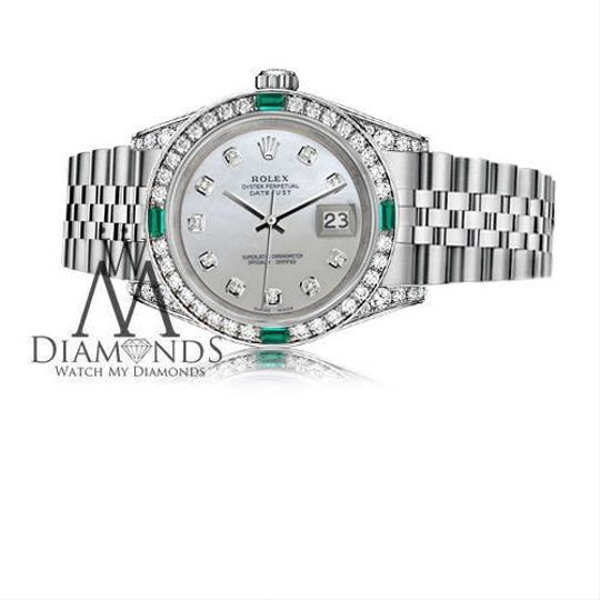 Rolex Rolex Datejust 36mm Steel White Mother Of Pearl Emerald Diamond Image 2
