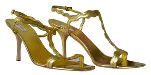 Prada Leather Heels Women's Gold Pumps
