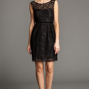 Jenny Yoo Black Lace Feminine Bridesmaid/Mob Dress Size 4 (S)