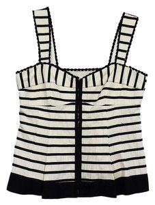 Nanette Lepore Ivory Black Striped Top