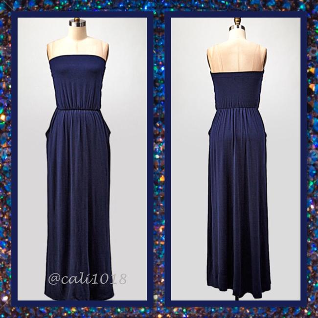 Navy Maxi Dress by Other Maxi Strapless Pockets Long Tube Image 1