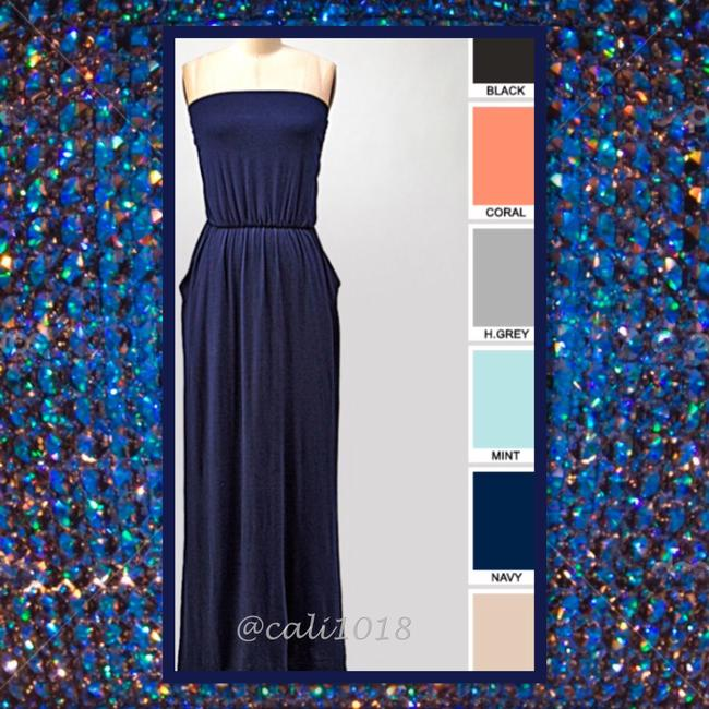 Navy Maxi Dress by Other Maxi Strapless Pockets Long Tube Image 3