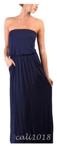 Navy Maxi Dress by Other Maxi Strapless Pockets Long Tube