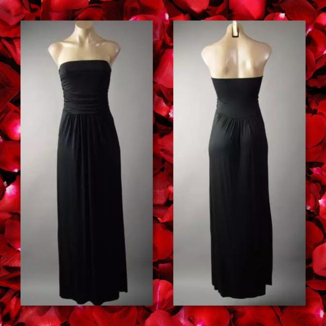 Black Maxi Dress by Other Maxi Strapless Pockets Long Tube Image 1