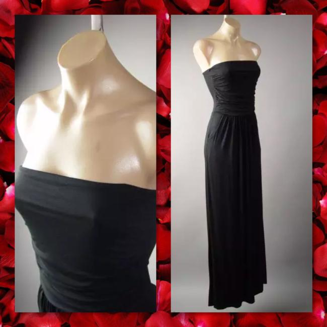 Black Maxi Dress by Other Maxi Strapless Pockets Long Tube Image 2