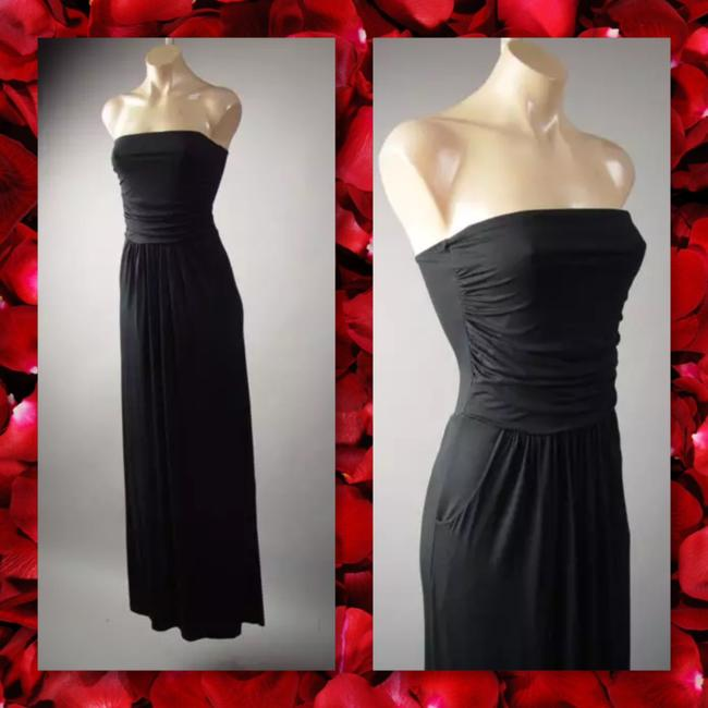 Black Maxi Dress by Other Maxi Strapless Pockets Long Tube Image 3