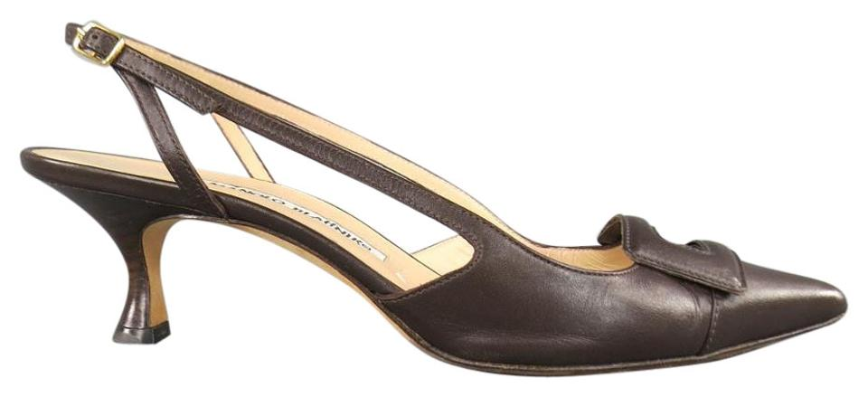 006212381413 Manolo Blahnik Brown Leather Buckle Toe Slingback Pumps Size US 8 ...