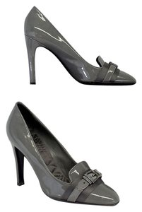 Gucci Grey Patent Leather Buckle Heels Pumps