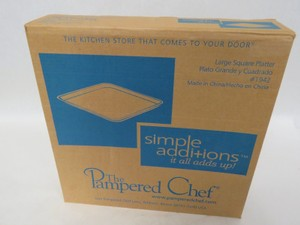 New Pampered Chef Large Square Platter #1942 In Original Box