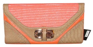 MMS Design Studio Boho Western Envelope Gold Chain Orange, Beige Clutch