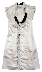 ADAM short dress Cream Black Single Ruffle on Tradesy