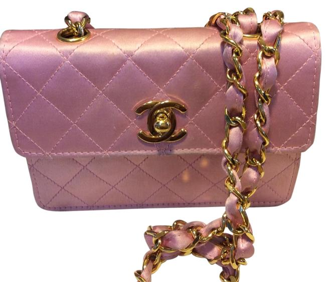Item - Flap Pink Satin Cross Body Bag