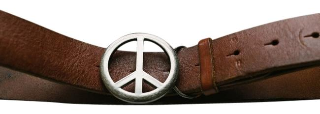 Item - Brown/Silver Peace Sign Leather Size S/M Belt