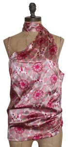 Hugo Boss Neck Sash Spaghetti Draped Floral Print Night Out Top PINK