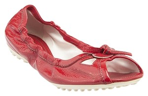 Tod's Patent Ballerina Leather Red Flats