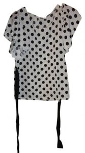 Unknown #tieback #sheer #dot #dotted #spots #bow #tie #ribbon Top Black and White Polka-Dot