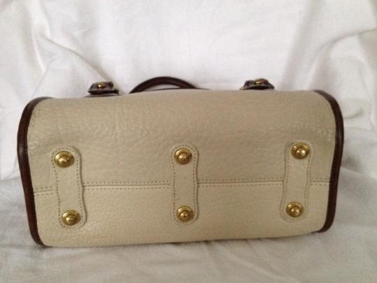 Dooney & Bourke Leather Satchel in Off White & Brown