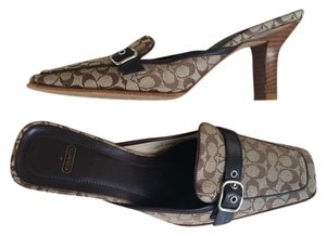 Coach Slides Signature Print Heels Brown Mules